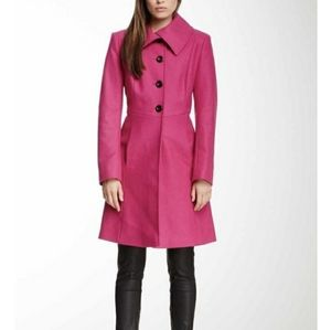Nicole Miller Pink Plaid Wool-Blend Low Belt Coat